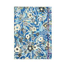 【ポイント5倍】ナカバヤシ 和綴帖 A6サイズ 横綴じ 小花ブルー(糸の色:紫 ) ノ-WTJ-A6-2