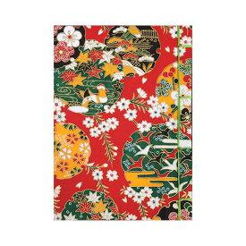 【ポイント5倍】ナカバヤシ 和綴帖 A6サイズ 横綴じ 文様レッド(糸の色:黄緑 ) ノ-WTJ-A6-3