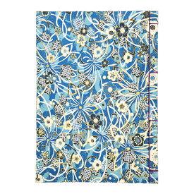 【ポイント5倍】ナカバヤシ 和綴帖 A5サイズ 横綴じ 小花ブルー(糸の色:紫 ) ノ-WTJ-A5-2