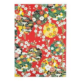 【ポイント5倍】ナカバヤシ 和綴帖 A5サイズ 横綴じ 文様レッド(糸の色:黄緑 ) ノ-WTJ-A5-3