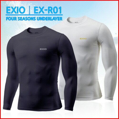 【ネコポス選択送料無料】EXIO エクシオ コンプレッションウェア 接触冷感 アンダーシャツ インナーシャツ 長袖 丸首 メンズ 全8色 M-XXL | 冷感インナー 冷感 tシャツ アンダーウェア コンプレッションシャツ コンプレッションインナー