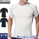一部予約【ネコポス選択送料無料】EXIO エクシオ コンプレッション メンズ 接触冷感 インナー アンダーシャツ 半袖 丸…