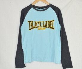 【キャッシュレス5%還元】BURBERRY BLACK LABEL/バーバリーブラックレーベル/メンズ/長袖Tシャツ/水色×灰色 サイズ:2 【中古】