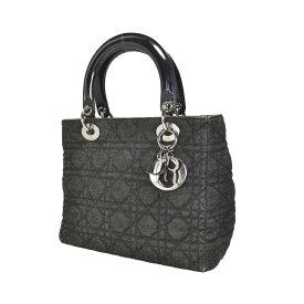中古 Christian Dior クリスチャンディオール レディディオール ハンドバッグ デニムブラック シルバー金具  送料 c80c9036a2