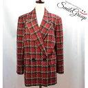 クリスチャンディオール テーラードジャケット Christian Dior 赤×黒 チェック柄 サイズ:L シルク 【中古】