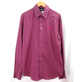 ヴェルサーチジーンズ 長袖シャツ Versace JEANS 赤紫 メンズ ストライプ サイズ:L 【中古】