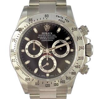ロレックスメンズ腕時計デイトナ116520ROLEX文字盤黒自動巻きSS【中古】【送料無料】【美品】