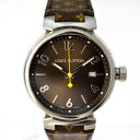 ルイヴィトン 腕時計 メンズ タンブールGM Q1111A LOUIS VUITTON 文字盤黒 モノグラム クオーツ 【美品】【中古】【送料無料】