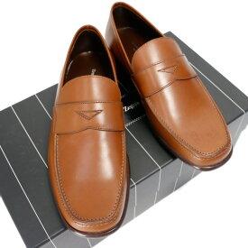 エルメネジルドゼニア 靴 革 Ermenegildo Zegna ブラウン 6EE 24〜24.5 【未使用品】【送料無料】