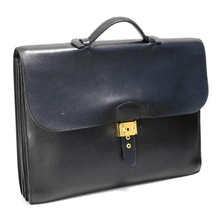 【中古】エルメス ビジネスバッグ ヴォーエプソン サックアデペッシュ HERMES ブラック メンズ ブリーフケース かばん 【送料無料】
