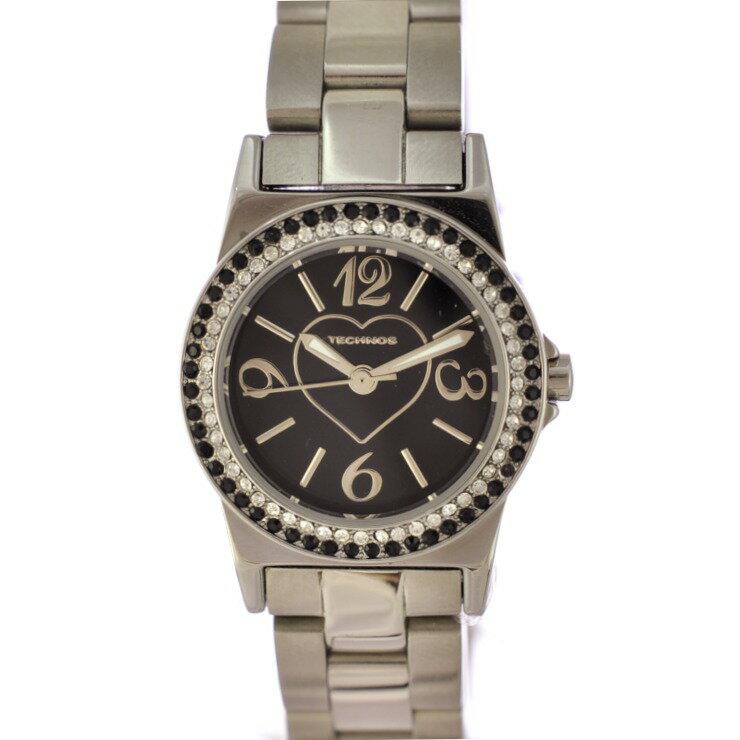 【中古】テクノス パヴェウォッチ レディース 腕時計 クオーツ ステンレススチール 文字盤黒 ハート T3759SB TECHNOS