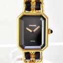 【中古】シャネル 腕時計 レディース プルミエールL クォーツ ブラック文字盤 ゴールド H0001 CHANEL [送料無料]