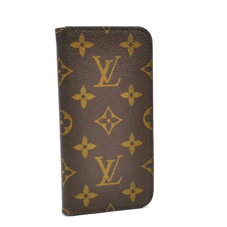 【中古】ルイヴィトン iPhoneケース iPhoneXフォリオ モノグラム マロン M63443 LOUIS VUITTON [送料無料]