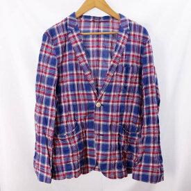【中古】バーバリーブラックレーベル 長袖ジャケットシャツ メンズ チェック ブルー レッド サイズL BURBERRY BLACK LABEL