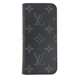 【中古】ルイヴィトン iPhoneケース iPhone7フォリオ モノグラムエクリプス メンズ グレー 手帳型 スマホ M62640 LOUIS VUITTON[送料無料]