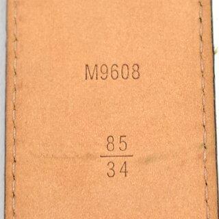 【キャッシュレス5%還元】【中古】ルイヴィトンレザーベルトサンチュール・イニシアルM9608モノグラムブラウン×ゴールドLOUISVUITTON[送料無料]
