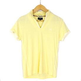 【キャッシュレス5%還元】【中古】バーバリーゴルフ ポロシャツ レディース イエロー コットン サイズM 三陽商会 BURBERRY GOLF