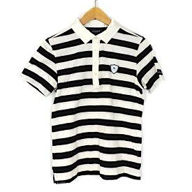 【キャッシュレス5%還元】【中古】バーバリーゴルフ ポロシャツ レディース ボーダー ホワイト×ブラック コットン サイズL 三陽商会 BURBERRY GOLF