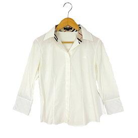 【キャッシュレス5%還元】【中古】バーバリーロンドン オープンカラーシャツ レディース ホワイト コットン サイズ38 三陽商会 BURBERRY LONDON
