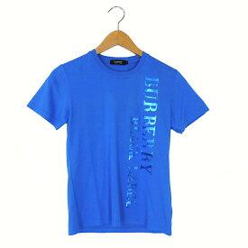 【キャッシュレス5%還元】【中古】バーバリーブラックレーベル Tシャツ メンズ プリント 半袖 ブルー サイズ1 三陽商会 BURBERRY BLACK LABEL 【美品】