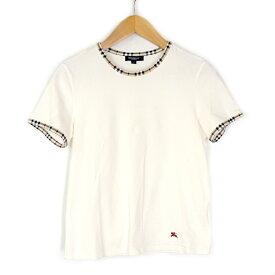 【キャッシュレス5%還元】【中古】バーバリーロンドン Tシャツ レディース ホワイト チェック コットン サイズ2 三陽商会 BURBERRY LONDON