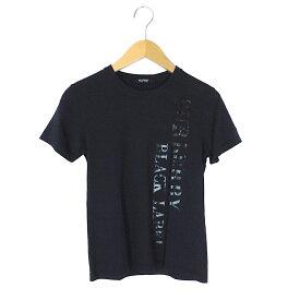 【キャッシュレス5%還元】【中古】バーバリーブラックレーベル Tシャツ メンズ プリント 半袖 ダークネイビー サイズ1 三陽商会 BURBERRY BLACK LABEL 【美品】