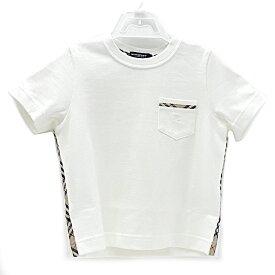 【中古】バーバリーロンドン Tシャツ キッズ 半袖 チェック コットン ホワイト サイズ100A 三陽商会 BURBERRY LONDON