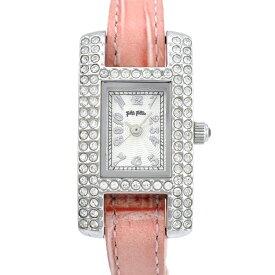 【中古】フォリフォリ レディース腕時計 クオーツ ステンレススチール 革ベルト 白文字盤 取替えベルト付 Folli Follie