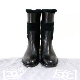 [中古]シャネル ブーツ 黒 ローヒール ココマーク サイズ23.5cm CHANEL【送料無料】