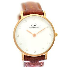 【中古】ダニエルウェリントン レディース腕時計 ステンレススチール クオーツ 文字盤ホワイト 革ベルト DW00100059 Daniel Wellington