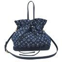 【キャッシュレス5%還元】[中古]ルイヴィトン ノエフルMM 2WAYトートバッグ 巾着型 M40869 モノグラムデニム レディース ブルー LOUIS…