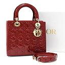 [中古]クリスチャンディオール レディディオール ミディアム 2WAYハンドバッグ パテントレザー カナージュ レッド Christian Dior Lady…
