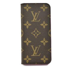 【キャッシュレス5%還元】[中古]ルイヴィトン iPhoneケース iPhone7フォリオ M61906 モノグラム ブラウン×ローズ 手帳型 スマホ LOUIS VUITTON