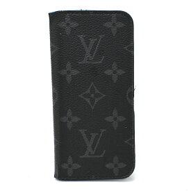 【中古】ルイヴィトン/iPhone7ケース/フォリオ/M62642/モノグラムエクリプス/ブラック/Louis Vuitton/イニシャル入り