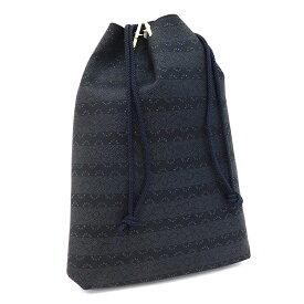 [中古] [送料無料] 新品 印傳 巾着 合切袋 鹿革 箱付き 3007 ブラック系 普段使い 上原勇七 印傳屋