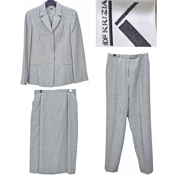 KRIZIA/クリツィア/レディース/スーツ3点セット/グレー ジャケット アウター パンツ スカート ボトムス セットアップ 長袖 サイズ:40 【中古】