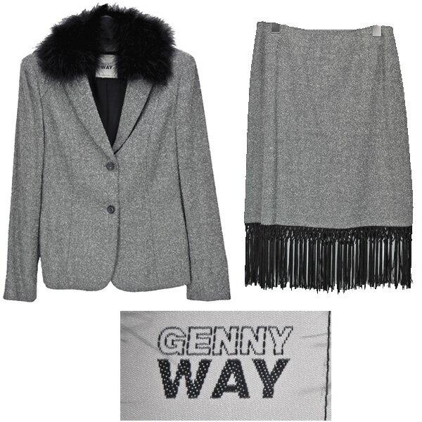GENNY/ジェニー/レディース/ファー付きスカートスーツ/グレーミックス セットアップ アウター ジャケット ボトムス 長袖 ウール サイズ:IT42 【中古】