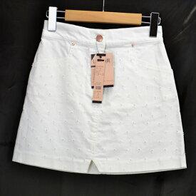 レディメイド/LADYMADE/レディース/ミニスカート/ホワイト 穴開きデザイン コットン サイズ:F 【中古】