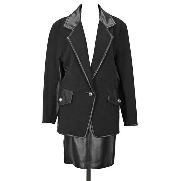 テルースギャラリーインターナショナル/Tellus Galerie Internationale /レディース/レザースカートスーツ/黒 サイズ38 【中古】