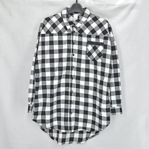 MURUA/ムルーア/レディース/ネルシャツ/白×黒チェック柄 オーバーシャツ 大きめ フリーサイズ サイズF 【中古】