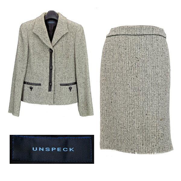 UNSPECK/アンスペック/レディース/スカートスーツ/白×黒ミックス カシミア混 ウール 【中古】