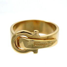 【キャッシュレス5%還元】【中古】フェラガモ スカーフリング FERRAGAMO ゴールド色 レディース 女性