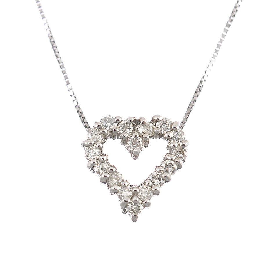 ペンダント ネックレス K18ホワイトゴールド ダイヤモンド 0.20ct ハート ジュエリー レディース 【中古】【送料無料】【美品】