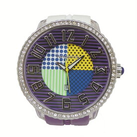 【中古】テンデンス ラウンドガリバークレイジー 腕時計 SS×ラバー クォーツ TG430065 パープル×ホワイト TENDENCE [送料無料]