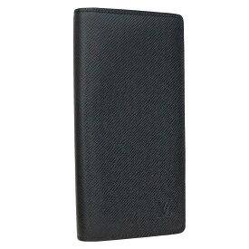 【中古】ルイヴィトン 二つ折り長財布 札入れ カード入れ ポルトフォイユ・ロン タイガ レザー ブラック メンズ M30541 LOUIS VUITTON [送料無料]