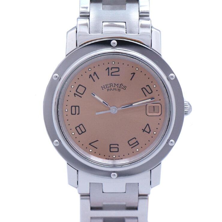HERMES エルメス クリッパー CL6.710 クォーツ ピンク文字盤 メンズ腕時計 [中古][送料無料]
