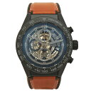 【中古】タグホイヤー メンズ腕時計 カレラ キャリバーホイヤー01 自動巻き クロノグラフ デイト ブラックセラミック レザー×ラバーベ…