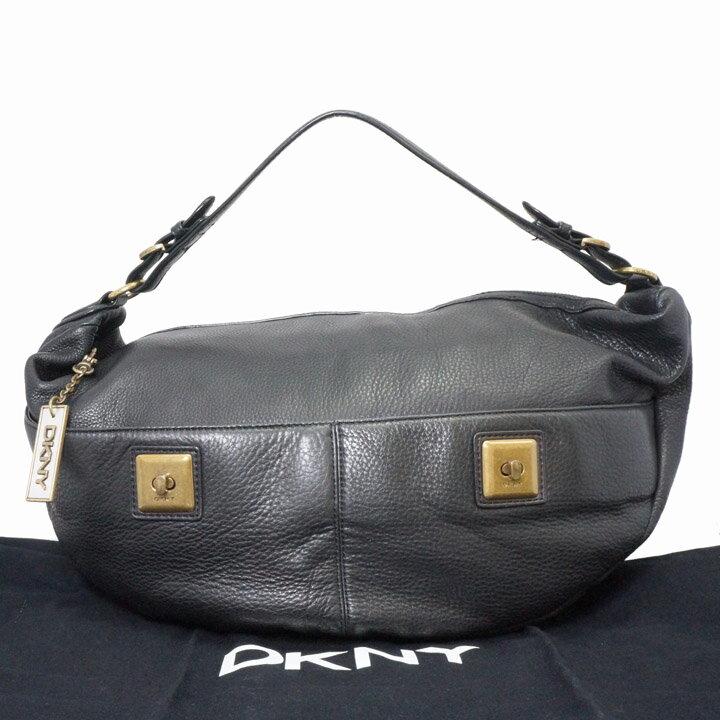 【中古】ダナ・キャラン レザーバッグ ブラック DKNY