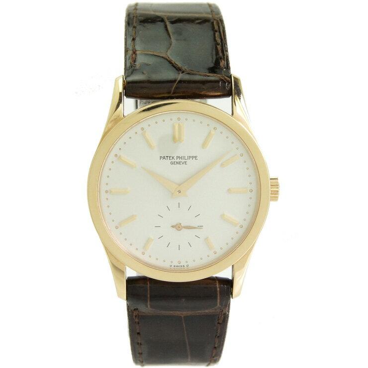 パテック・フィリップ メンズ腕時計 カラトラバ 3796 PATEK PHILIPPE K18×革ベルト 手巻き シルバー文字盤【中古】【送料無料】