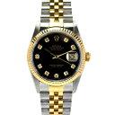 【中古】ロレックス デイトジャスト 10Pダイヤ メンズ 腕時計 自動巻き SS×K18 黒文字盤 16233G U番 ROLEX [送料無料][美品]